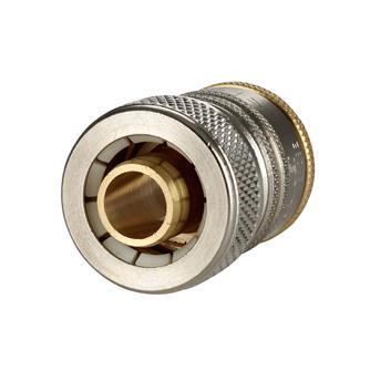 Raccord rapide à verrouillage pour tuyau d´arrosage de 15 mm.