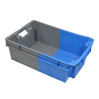 Bac emboitable et empilable bleu et gris